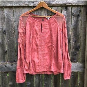 Lucky Brand Pink Lace Embellished Boho Blouse